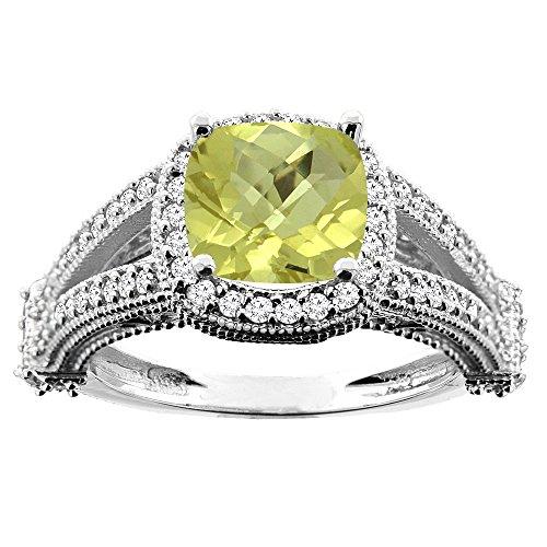 14K White Gold Natural Lemon Quartz Split Shank Ring Cushion 7x7mm Diamond Accent, size 10