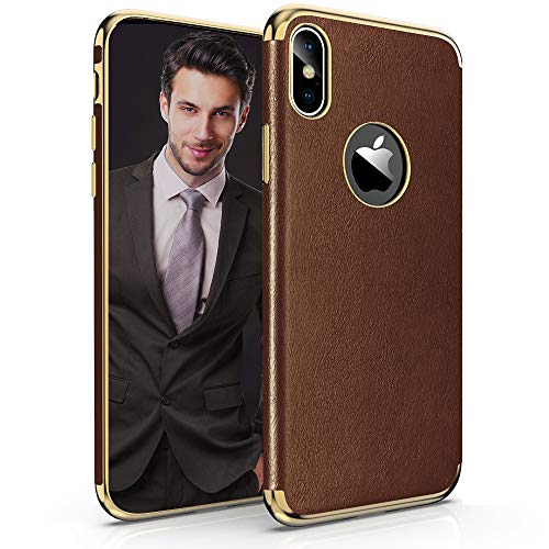LOHASIC Leather Case for iPhone Xs Max, Thin Slim Premium Leather Luxury Electroplated Soft Flexible TPU Bumper Shockproof Full Body Protective Cover Cases for Apple iPhone Xs Max 6.5 inch(Brown) ()