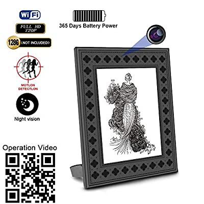 Hidden Spy Camera WiFi Photo Frame 720P HD Home Security Camera Night Vision and Motion Detection Wireless IP Nanny Cam with One Year Battery Standby Time and Instant Alerts To Smartphone (Video Only) from Fuvision