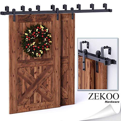 ZEKOO 5-16 FT Bypass Barn Door Hardware Double Door Kit Rustic Black Steel Metal Rail Roller Set Low Ceiling Bracket (12 FT New Style Bypass kit)