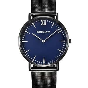 binssaw para hombre relojes primera marca de lujo reloj de cuarzo correa de malla de acero