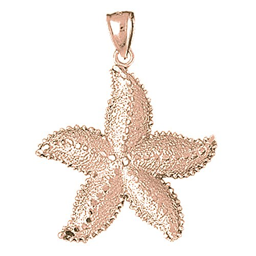 Rose Gold-plated 925 Sterling Silver 40mm Starfish Charm Pendant (Approx. 3.655 grams)
