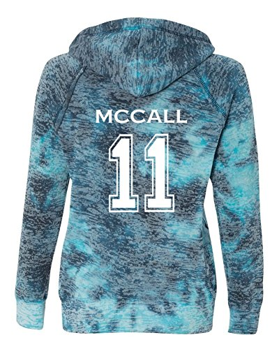 Ladies Teen Wolf Beacon Hills Lacrosse McCall 2-Sided Burnout Hoodie (Small, Bahama Blue)