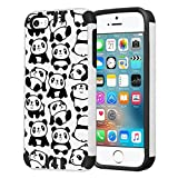 Capsule Case Compatible with iPhone 5, iPhone 5S, iPhone SE [Hybrid Dual Layer Slim Defender Armor Combat Case Black White] - (White Panda)