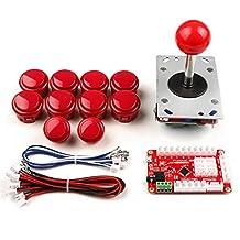 GeeekPi One Player Arcade Game DIY Parts Kit USB Encoder PC Joystick Retro Game DIY Kit for Raspberry Pi 3 RetroPie & Mame Jamma & Other Fighting Games (Red)