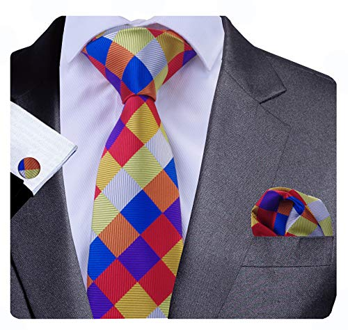 (GUSLESON Wedding Tie For Men Colorful Plaid Necktie Hanky Cufflinks Set(0706-01))