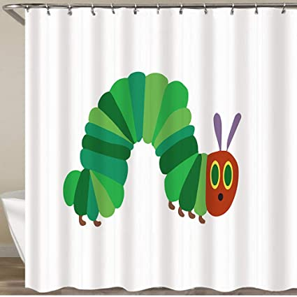 Youmeisu Shower Curtain The Very Hungry Caterpillar Waterproof Bath Curtains Polyester Decorative Shower Curtains Art Deco For Bathroom With 12 Hooks 180x180cm Amazon Co Uk Kitchen Home
