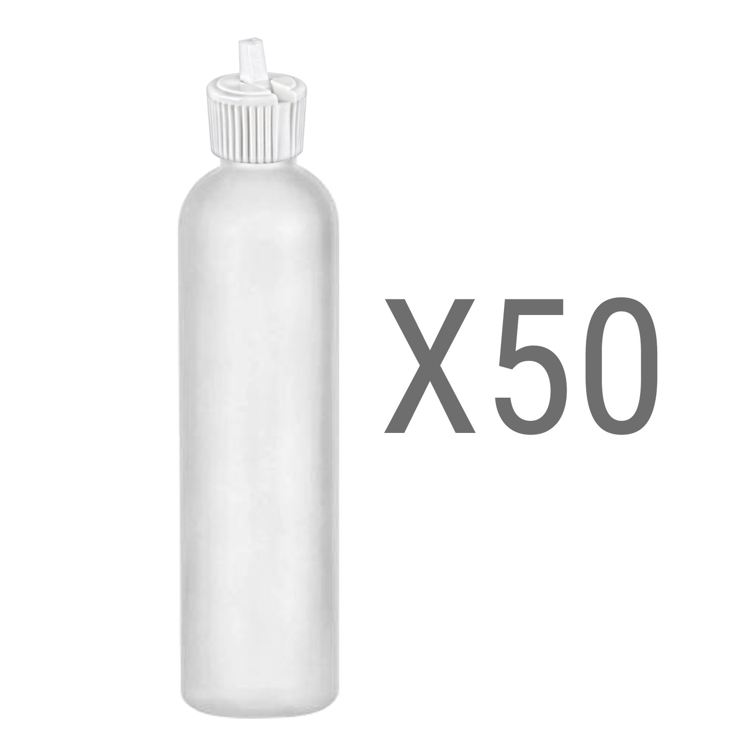 MoYo Natural Labs 8 oz Squirt Bottles, Squeezable Empty Refillable Containers Turret Caps, BPA Free HDPE Plastic for Essential Oils and Liquids Toiletry/Cosmetic Bottles (Pack of 50 Translucent White)