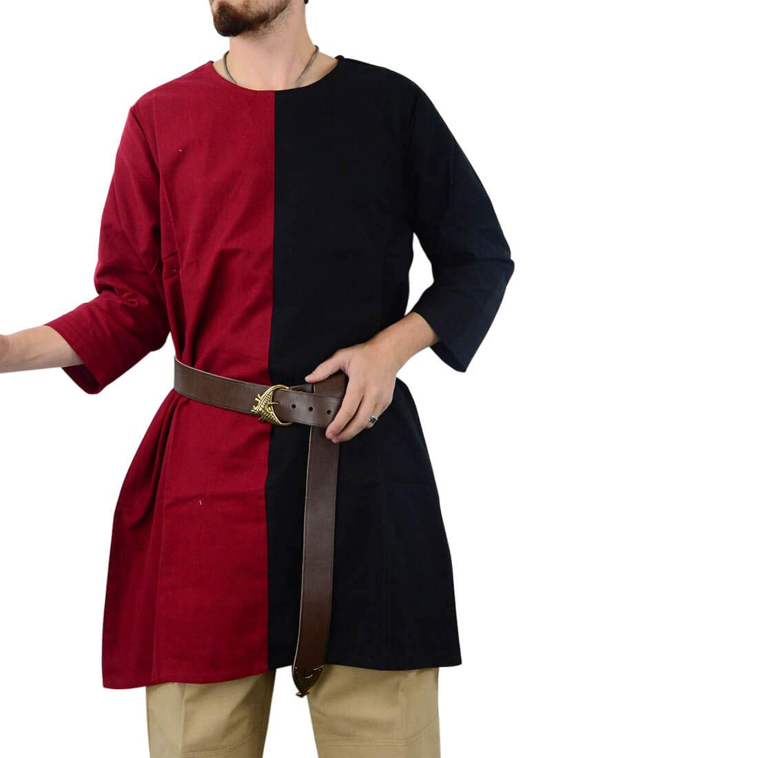 MEDIEVAL KNIGHT Men/'s Sleeveless Two-Tone Colors TABBARD TUNIC with LINING New