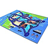 2018 Kids Rug Area Play Mat Car Carpet with Road 6' 7''  X  3' 3''  Map of USA--High Definition(HD) with Non-Slip Backing Nontoxic for Playroom Bedroom Classroom Toy & Game