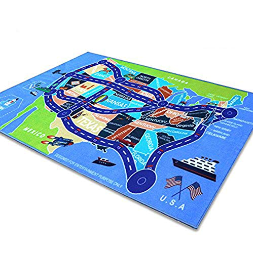 2018 Kids Rug Area Play Mat Car Carpet with Road 6' 7''  X  3' 3''  Map of USA--High Definition(HD) with Non-Slip Backing Nontoxic for Playroom Bedroom Classroom Toy & Game by Beyond Your Thoughts