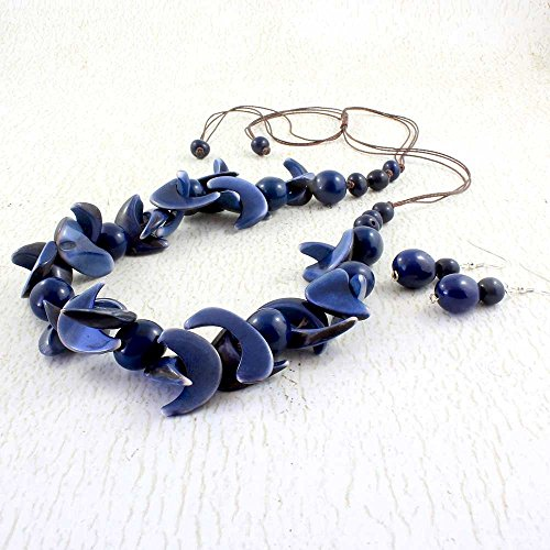 Navy Blue Statement Necklace and Earring Set made of Tagua Nut, Chunky Bib Style, Handmade Eco Friendly Jewelry