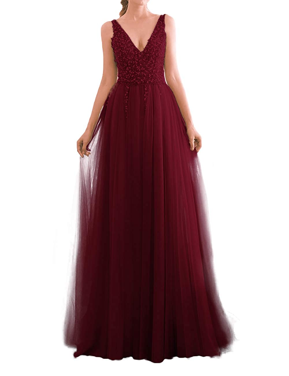 Burgundy JAEDEN Prom Dress Long Evening Dresses for Party Tulle V Neck Prom Dresses Evening Gowns