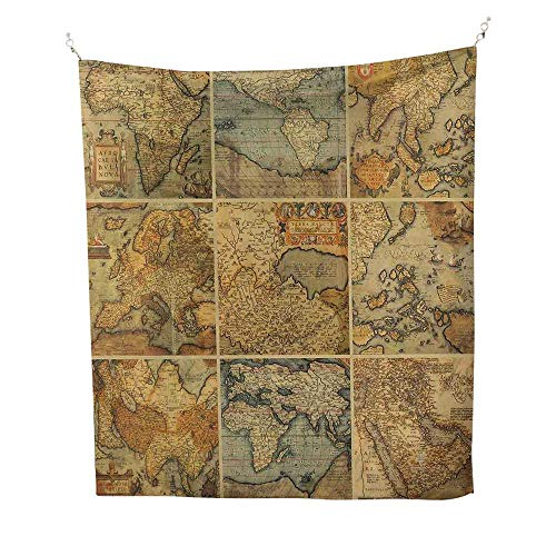 World Mapcool tapestryCollage with Antique Old World Maps Vintage Ancient Collection of Civilization 57W x 74L inch Tapestry for wallMulticolor