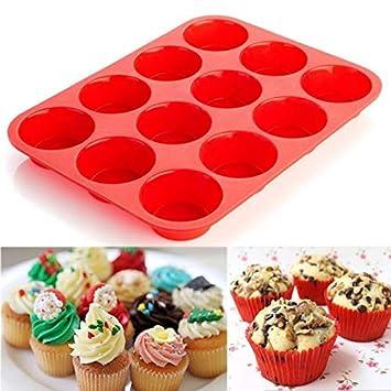 SHJNHAN 12 tazas de silicona para magdalenas y cupcakes, antiadherente, apta para lavavajillas y microondas: Amazon.es: Hogar