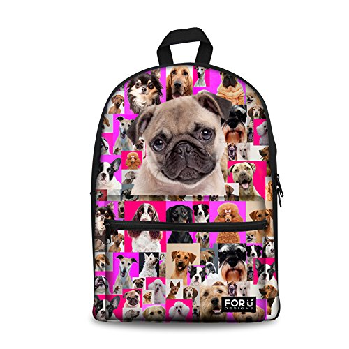 FOR U DESIGNS 15 inch Fashion Animal Pug Backpack Girls for sale  Delivered anywhere in USA