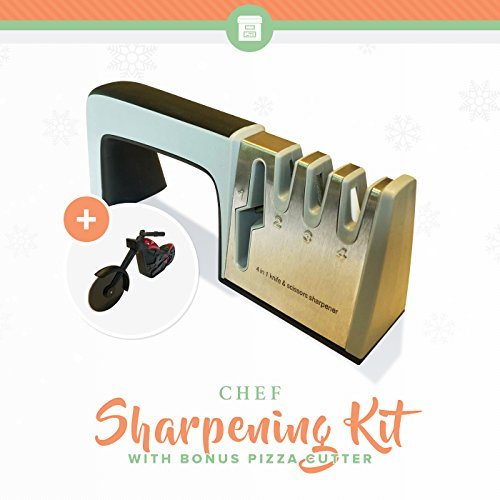 Chef Knife Sharpening Kit -Bonus Pizza Cutter | From Fillet to Paring Knives | Get Sharp Blades | Best Sharpener for Bread, Swiss Army, Pocket, Hunting, Utility or Butterfly Knives (Japanese Still Life)
