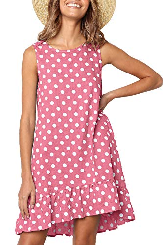 NICIAS Women Casual Polka Dot Sleeveless Tunic Ruffle Hem Swing Midi Dresses with Pockets Pink M