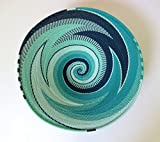 African Zulu woven telephone wire bowl – Large shallow bowl - Turquoise - Gift from Africa