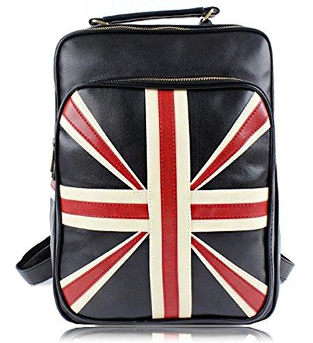 Emoyi Unisex British Style School Bag PU Union Jack Backpack Handbag Tote (black)