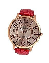 changeshopping Womens Fashion Numerals Golden Dial Analog Quartz Watch (Hot pink)