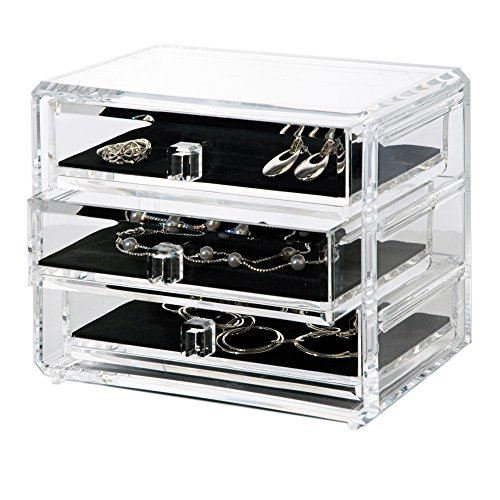 3 Drawer Jewelry - Deluxe 3-drawer Jewelry Chest or Cosmetic Organizer with Removable Drawers and Liners