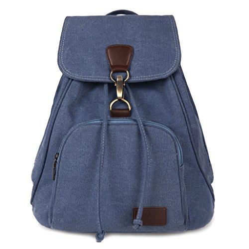 Dabixx - Womens Canvas Bag, Vintage Design, Blue, Brown, 29x15x39cm / 11.42x5.91x15.35 Blue (lake Blue)