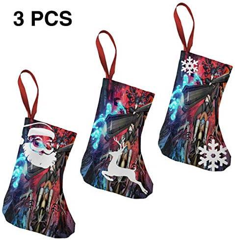 クリスマスの日の靴下 (ソックス3個)クリスマスデコレーションソックス 今後の都市戦 クリスマス、ハロウィン 家庭用、ショッピングモール用、お祝いの雰囲気を加える 人気を高める、販売、プロモーション、年次式