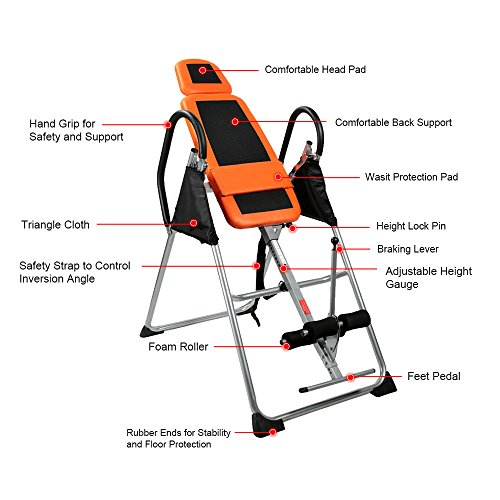 Docooler foldable inversion table chiropractic back pain for 1201 back therapy inversion table