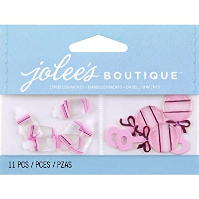 Jolee's Boutique Scrapbooking Embellishment, Baby Girl Bottles and Rattles