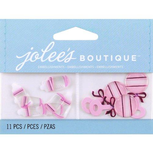 Jolee's Boutique Scrapbooking Embellishment, Baby Girl Bottles and Rattles