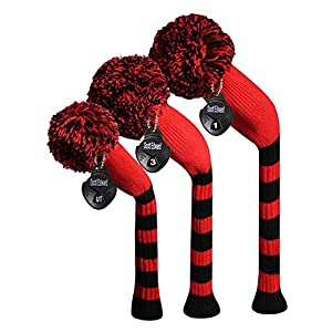 Scott Edward Stripes Style Knitted Golf Club Head Covers Set of 3, fit for Driver Wood(460cc), Fairway Wood,Hybrid(UT),for Men Golfers,Individualized Looking and Washable