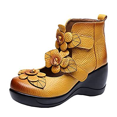 Cunzhai Women's Unique Handmade Leather Casual Travel Soft Bottom Boot Yellow 5 B(M) US