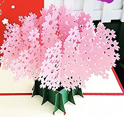 Amazon cherry blossom pop up card 3d card thank you cards cherry blossom pop up card 3d card thank you cards for birthday cards m4hsunfo