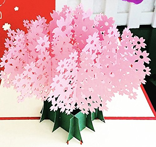 Cherry Blossom Pop Up Card -3D Card, Thank You Cards For Birthday Cards, Anniversary, Father's Day Card, Baby Shower Card, Graduation Cards, Thanksgiving Card, Christmas Card, Greeting Cards (15x15) (Japanese Business Card)