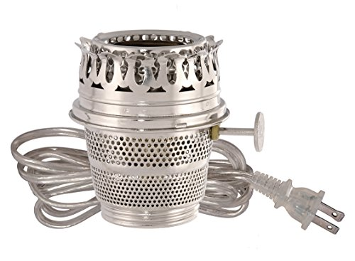 B&P Lamp Nickel Plated Electrified Burner Designed to Fit Aladdin Brand Lamps, Clear Silver Cord