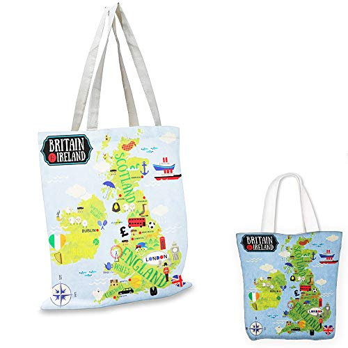(grocery bags Wanderlust Cartoon Maps of Britain and Ireland Children Landmarks Illustration Pale Blue Apple Green canvas bag shopping)