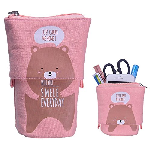 Stand up Pencil Holder Telescopic Pencil Case Transformer Pen Box Cartoon Cute Stationery Pouch Bag Canvas+PU Cosmetics Pouch Stand Store Pen Organizer for Students Boys and Girls (Brown Bear)]()