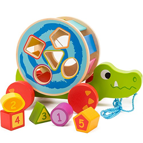 - COSSY Wooden Shape Sorter Pull Toy - Wooden Alligator Puzzle for Toddler Learning Walk-A-Long Push & Educational Toy for 1 Year Old