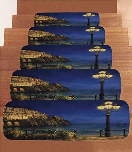 SoSung Italy Coral Fleece Stair Treads,Stair Tread Mats,Starry and Romantic Evening at The Coast of Amalfi in Italy Oil Painting Style,(Set of 5) 8.6