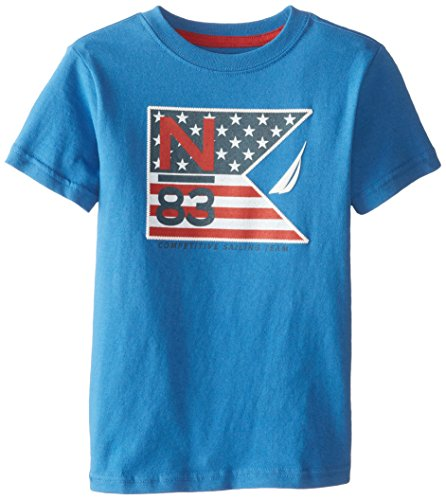 Nautica Little Boys' N83 Flag Graphic T-Shirt, Blue Wasp, 5