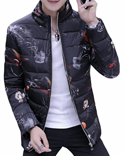 today Floral Warm Printed Mens Down Thicken UK Coat 2 Stand Winter Collar ppZrHq