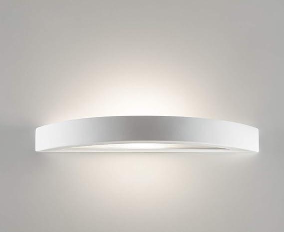 Grande applique moderno design curvo ceramica bianca effetto gesso
