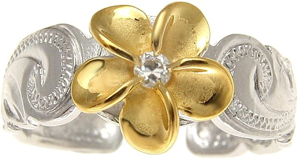 Arthurs Jewelry 925 Sterling Silver Rhodium Plated Yellow Gold Plated Hawaiian Plumeria cz Scroll Cut Out Edge Toe Ring