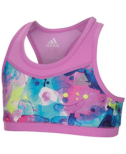 adidas Climacool Orchid Print Gym Bra, Big Girls Size Large (12/14) by adidas