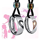 Aienid Couples Necklace for Him and Her Rings Stainless Steel Pendant for Women Men Love Heart