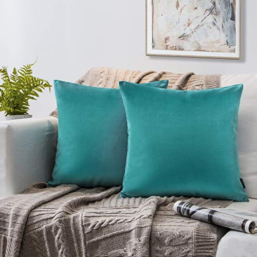 (Phantoscope Set of 2 Soft Cozy Velvet Throw Pillow Solid Square Cushion Cover Turquoise 20 x 20 inches 50 x 50 cm)