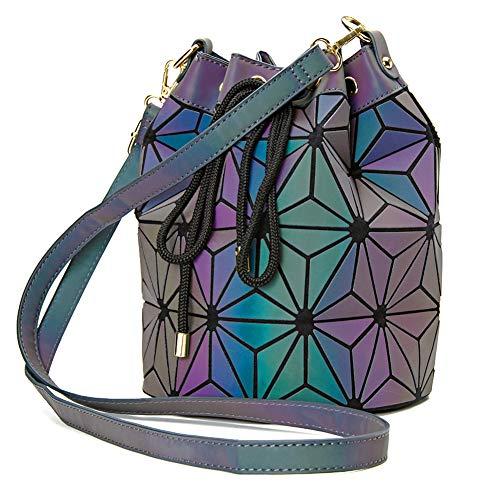 (Geometric Holographic Handbag Unique Rainbow Purses Iridescent Luminous Colour Changing Womens Purse Bucket Tote for women)