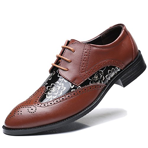 MERRYHE Mens Plus Size Casual Lace-up Moda Scarpe Derby Brogue Business Scarpe Da Lavoro Per La Festa Di Nozze Coffee