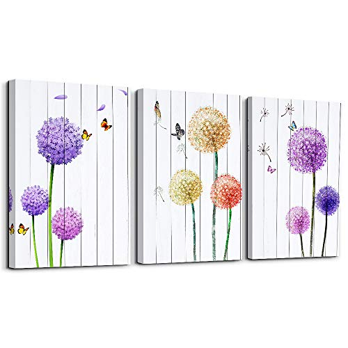 Dandelion and Butterfly purple flowers Canvas Prints Wall Art Paintings Abstract Wall Artworks Pictures for Living Room Bedroom Decoration, 12x16 inch/piece, 3 Panels Home bathroom Wall decor posters (Flowers Wall And Butterflies Art)